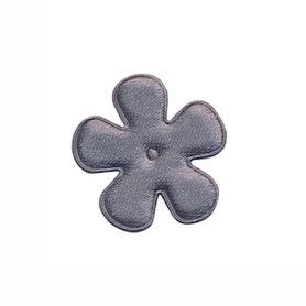 Applicatie bloem grijs satijn effen klein 25 mm (ca. 100 stuks)