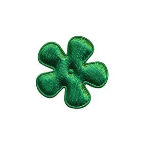 Applicatie bloem donker groen satijn effen klein 25 mm (ca. 100 stuks)