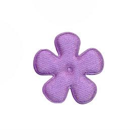Applicatie bloem lila satijn effen klein 25 mm (ca. 100 stuks)