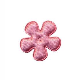 Applicatie bloem oud roze satijn effen klein 25 mm (ca. 100 stuks)