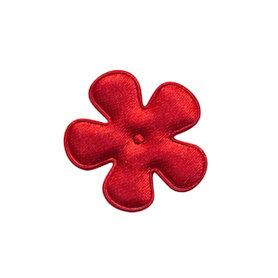 Applicatie bloem rood satijn effen klein 25 mm (ca. 100 stuks)