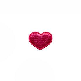 Applicatie hart fuchsia satijn effen mini 15x12 mm (ca. 100 stuks)