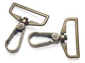 Metalen musketonhaak/sleutelhanger strak bronskleurig 38 mm (10 stuks)