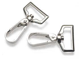 Metalen musketonhaak/sleutelhanger strak zilverkleurig 25 mm (10 stuks)