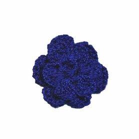 Gehaakt roosje kobalt blauw 25 mm (10 stuks)