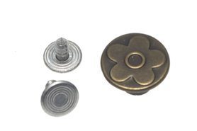 Jeans knoop brons met bloemetje 15 mm (ca. 100 stuks)