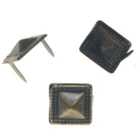 Vierkante stud met sierrandje bronskleurig 10 mm (ca. 100 stuks)