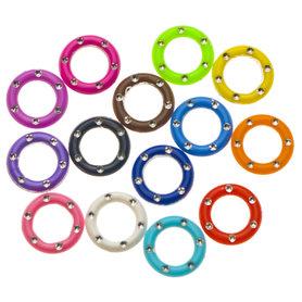 Ringetje met zilver mix kleuren 14 mm (ca. 250 stuks)