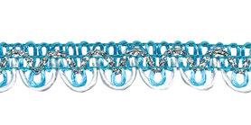 2-kleurig schulpband aqua-wit met zilverdraad 15 mm (ca. 16 meter)