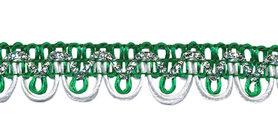 2-kleurig schulpband groen-wit met zilverdraad 15 mm (ca. 16 meter)
