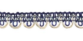 2-kleurig schulpband donker blauw-creme met zilverdraad 15 mm (ca. 16 meter)