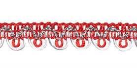 2-kleurig schulpband rood-wit met zilverdraad 15 mm (ca. 16 meter)