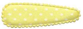 Haarkniphoesje satijn zachtgeel met witte stip / polkadot 5 cm (ca. 100 stuks)
