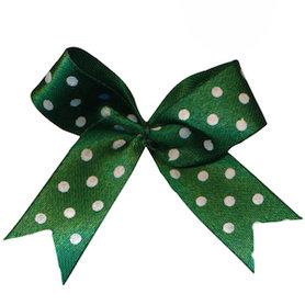 Satijnen strik donker groen met witte stip 40x45 mm (ca. 100 stuks)