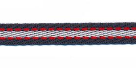 Grijs-wit met rood stiksel grosgrain band 10 mm (ca. 25 m)
