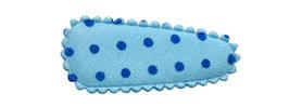 Haarkniphoesje licht blauw met blauwe stip 3 cm (ca. 100 stuks)