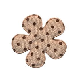 Applicatie bloem zand met donker bruine stip katoen middel 35 mm (ca. 100 stuks)