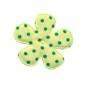 Applicatie bloem licht groen met groene stip katoen middel 35 mm (ca. 100 stuks)