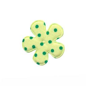 Applicatie bloem licht groen met groene stip katoen klein 25 mm (ca. 100 stuks)