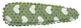 Haarkniphoesje groen met stipjes en witte hartjes 5 cm (ca. 100 stuks)