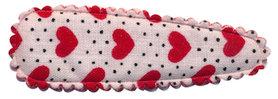 Haarkniphoesje wit met stipjes en rode hartjes 5 cm (ca. 100 stuks)