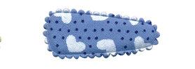 Haarkniphoesje blauw met stipjes en witte hartjes 3 cm (ca. 100 stuks)