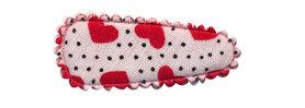 Haarkniphoesje wit met stipjes en rode hartjes 3 cm (ca. 100 stuks)