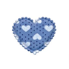 Applicatie hart blauw met stipjes en witte hartjes middel 30 x 25 mm (ca. 100 stuks)