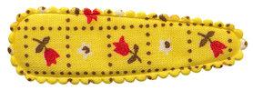 Haarkniphoesje geel met tulpjes 5 cm (ca. 100 stuks)