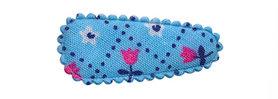 Haarkniphoesje blauw met tulpjes 3 cm (ca. 100 stuks)