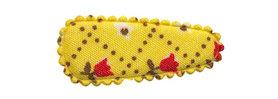 Haarkniphoesje geel met tulpjes 3 cm (ca. 100 stuks)