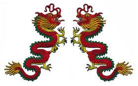 Opstrijkbare applicatie rode Chinese draak 20x23 cm (set van 2 stuks)