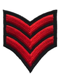 Opstrijkbare applicatie leger/army zwart met 3 rode strepen (5 stuks)