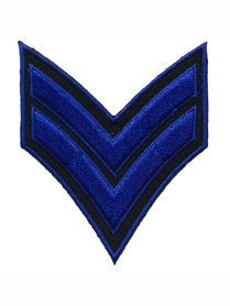 Opstrijkbare applicatie leger/army zwart met 2 blauwe strepen (5 stuks)