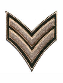 Opstrijkbare applicatie leger/army legergroen met 2 zandkleurige strepen (5 stuks)