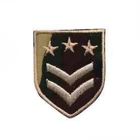 Opstrijkbare applicatie leger/army schild met 2 strepen en 3 sterren (5 stuks)