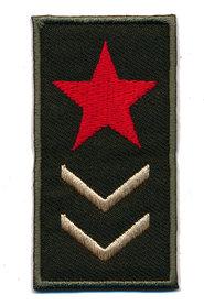 Opstrijkbare applicatie leger rechthoek met rode ster (5 stuks)