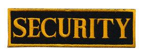 Opstrijkbare applicatie 'SECURITY' zwart/goud (5 stuks)