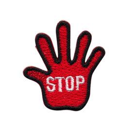 Opstrijkbare applicatie STOP hand rood KLEIN (5 stuks)