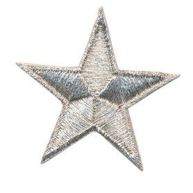 Opstrijkbare applicatie ster zilver (5 stuks)