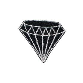 Opstrijkbare applicatie diamant zwart (5 stuks)