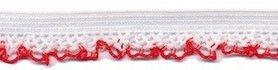 Elastisch kant wit met rood randje 12 mm (ca. 25 m)