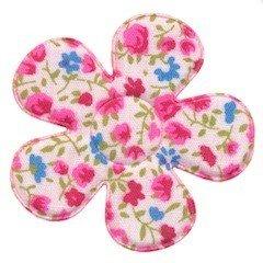Applicatie bloem met bloemenprintje roze groot 45 mm  (ca. 100 stuks)