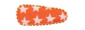 Haarkniphoesje oranje met witte sterren 3 cm (ca. 100 stuks)