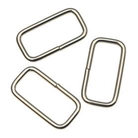 Metalen passant rechthoekig zilverkleurig 30 mm (ca. 25 stuks)