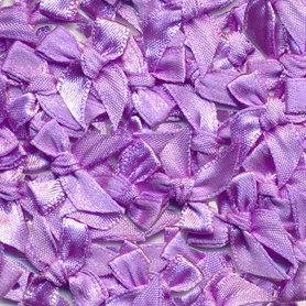 Satijnen strikjes lila (ca. 100 stuks)