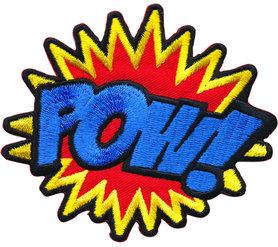 Opstrijkbare applicatie 'POW!' (5 stuks)