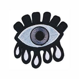 Opstrijkbare applicatie oog met tranen zwart-wit-grijs (5 stuks)