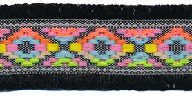 Zwart franjeband Ibiza stijl met franjes aan beide zijden 45 mm (ca. 5 m)