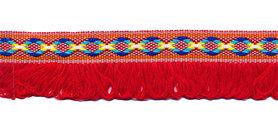 Rood franjeband Ibiza stijl 25 mm (ca. 5 m)